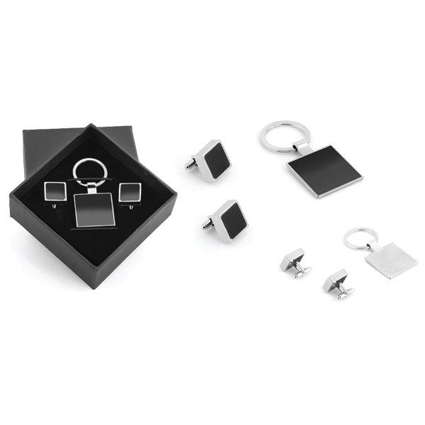 Metal Keychain and Cufflink Set