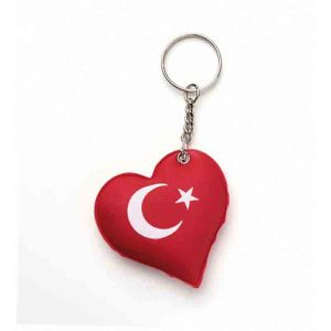 Turkish Flag Puff Keychain