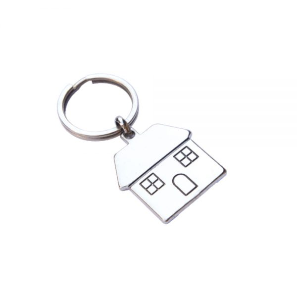 Metal Thin House Keychain